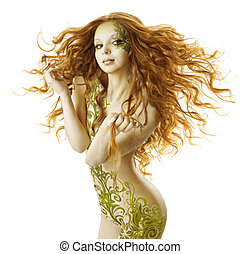 excitado, mulher, fantasia, penteado, sensual, moda, tatuagem, maquilagem, pelado, beleza, menina, com, longo, cabelos, e, floral, arte corpo