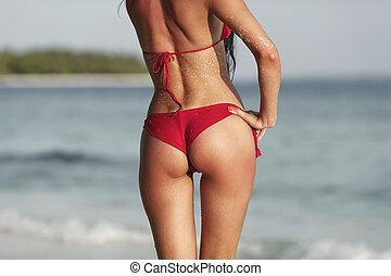 excitado, mulher, fundo, costas, mar