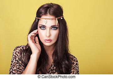 excitado, mulher, headband