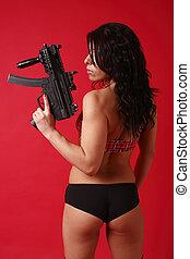 excitado, mulher jovem, com, arma