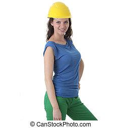 excitado, mulher jovem, trabalhador construção, contratante