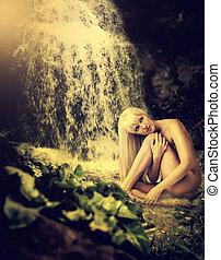 excitado, mulher, loura, cachoeira, lagoa