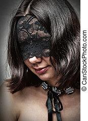 excitado, mulher, máscara, renda, jovem