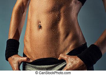 excitado, mulher, músculos abdominais
