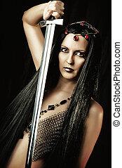 excitado, mulher, medieval, espada