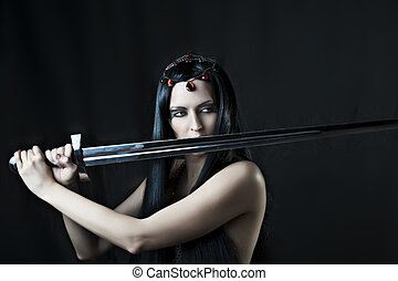 excitado, mulher, morena, jovem, espada