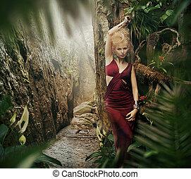 excitado, mulher, selva