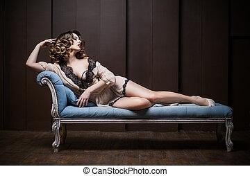 excitado, mulher, sofá