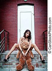 excitado, mulher, urso, dela, pelúcia