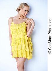 excitado, mulher, vestido, loura, amarela