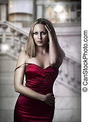 excitado, mulher, vestido, luxo, vermelho