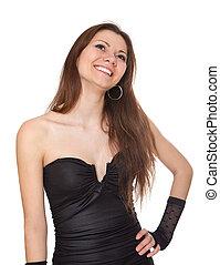 excitado, mulher, vestido noite