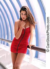 excitado, mulher, vestido, vermelho