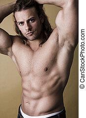 excitado, muscular, homem