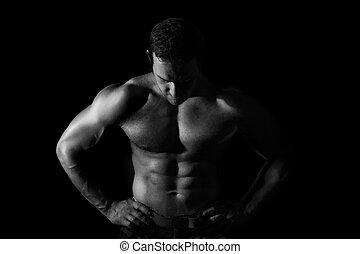 excitado, muscular, model.