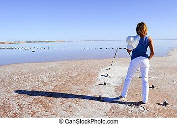 excitado, outback, austrália, lago, mulher