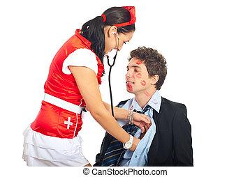 excitado, paciente enfermeira, examine, amante