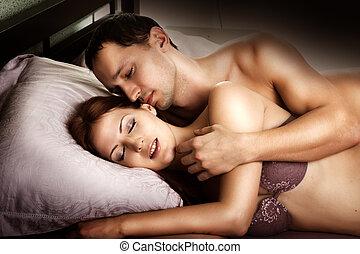 excitado, par, amantes, cama
