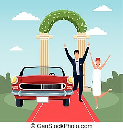 excitado, par, car, vermelho, casado, cena, casório, clássicas