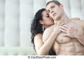 excitado, par, em, romanticos, pose