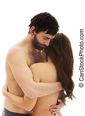 excitado, par heterossexual, embracing.