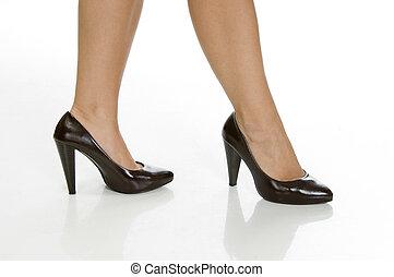 excitado, pernas, femininas