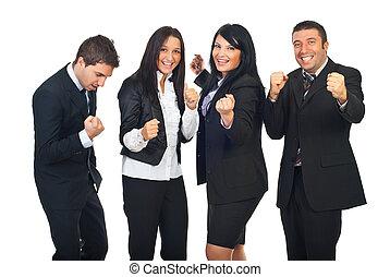 excitado, pessoas, equipe, com, sucesso, em, negócio