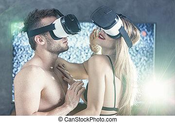 excitado, realidade, virtual, xouple
