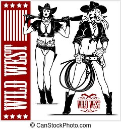 excitado, revólver, cowgirls