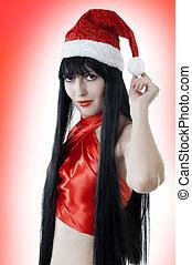 excitado, santas, chapéu, vermelho, retrato