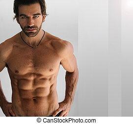 excitado, shirtless, homem
