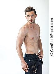 excitado, shirtless, homem, muscular, retrato