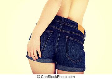 excitado, shorts., mulher, calças brim