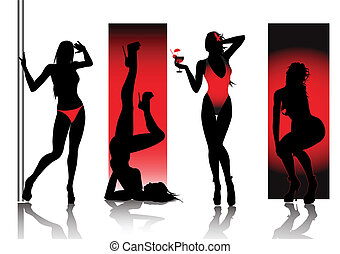 excitado, silhuetas, em, vermelho