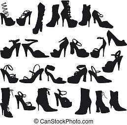excitado, silouettes, sapatos