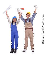 excitado, trabajadores construcción