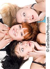 excitado, tres mujeres