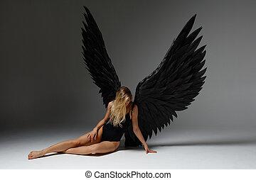 excitado, voluptous, mulher, anjo