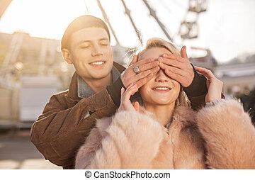 excitation, date, couple, sentiment, heureux