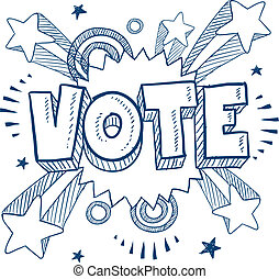 Doodle style vote in the election illustration in vector format.