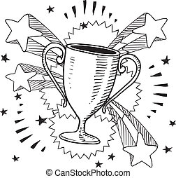 Doodle style trophy sketch in vector format on retro stars and fireworks background