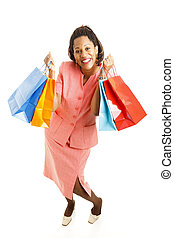 Excited African-American Shopper