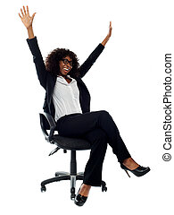 Excited african female business executive