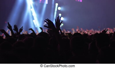 Excited audience at the concert - Slow motion shot of ...