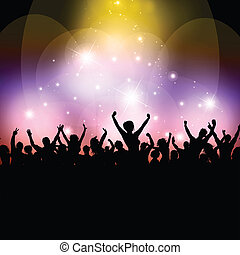 Silhouette of an excited audience on a colourful background