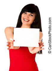 Excited beautiful young woman showing a blank paper isolated