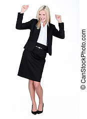 Excited blond businesswoman