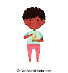 Excited Boy Character with Tub of Ice Cream and Spoon Vector Illustration. Little Kid Eating Cold Refreshing Treat and Enjoying Summer Concept
