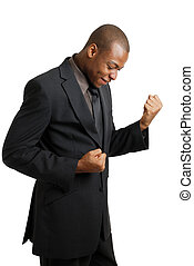 Excited business man celebrating success