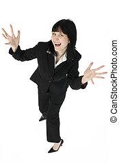 Excited Business Woman - Excited business woman with hands...